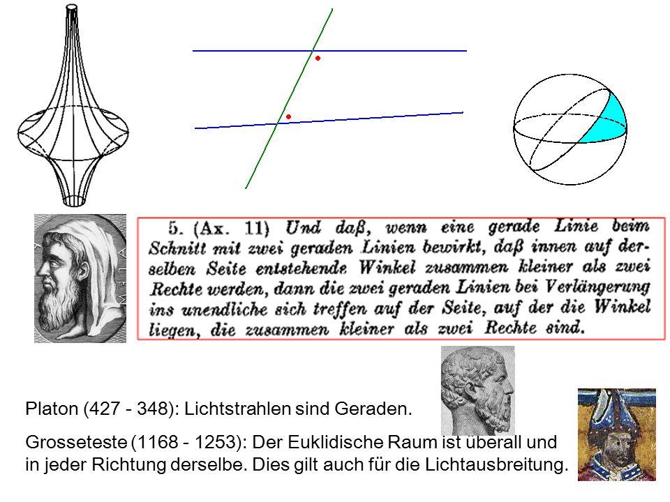 Platon (427 - 348): Lichtstrahlen sind Geraden. Grosseteste (1168 - 1253): Der Euklidische Raum ist überall und in jeder Richtung derselbe. Dies gilt