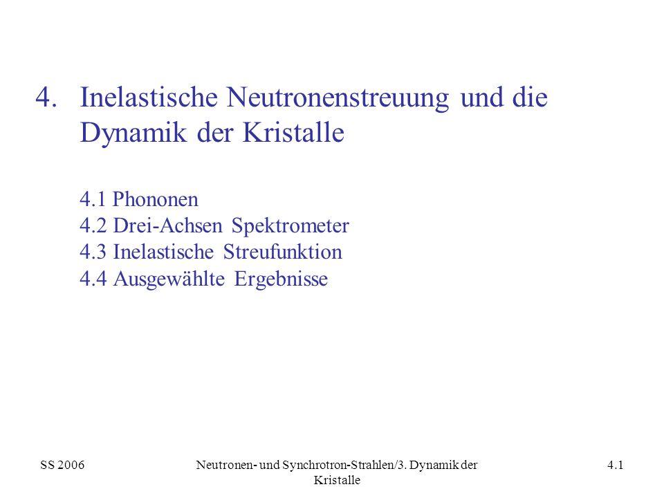 SS 2006Neutronen- und Synchrotron-Strahlen/3. Dynamik der Kristalle 4.1 4.Inelastische Neutronenstreuung und die Dynamik der Kristalle 4.1 Phononen 4.