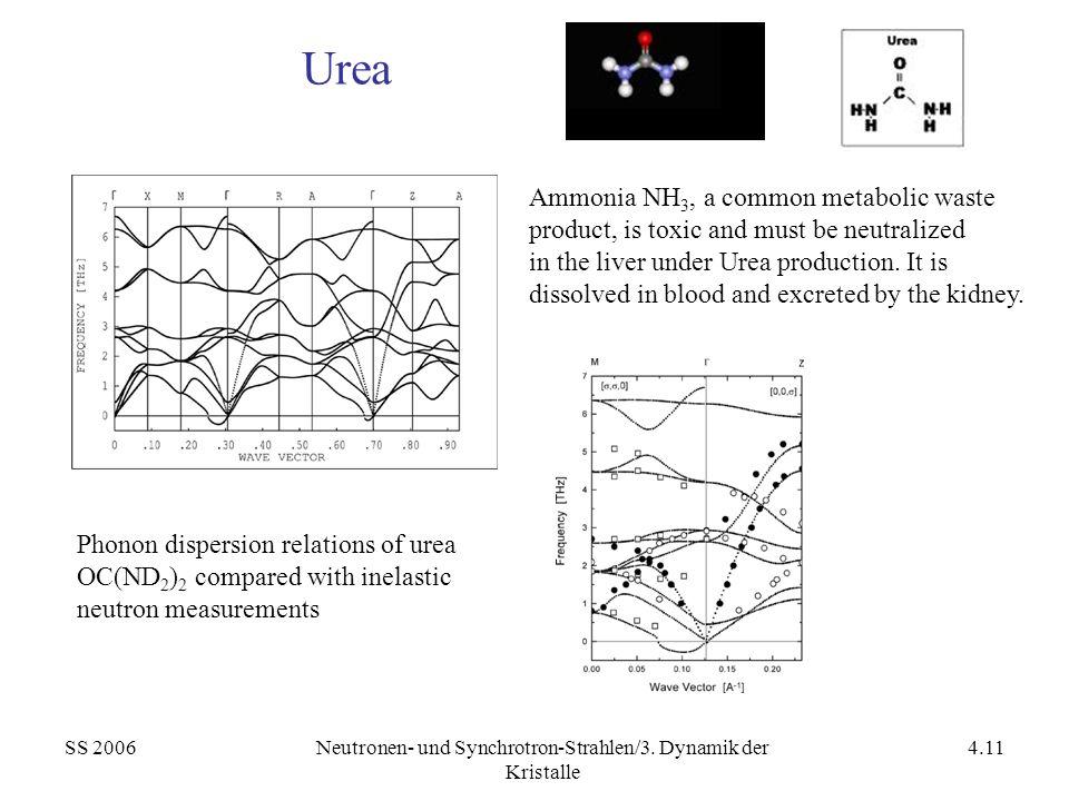 SS 2006Neutronen- und Synchrotron-Strahlen/3. Dynamik der Kristalle 4.11 Urea Phonon dispersion relations of urea OC(ND 2 ) 2 compared with inelastic