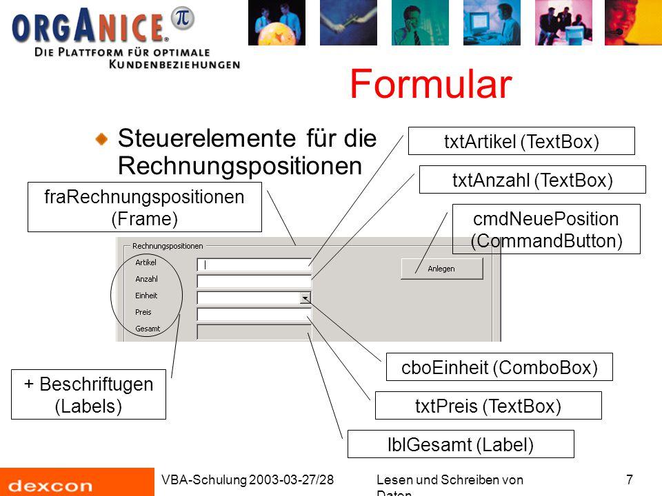 VBA-Schulung 2003-03-27/28Lesen und Schreiben von Daten 8 Formular Steuerelement für die Artikelliste lvwArtikel (ListView) cmdClose (CommandButton)