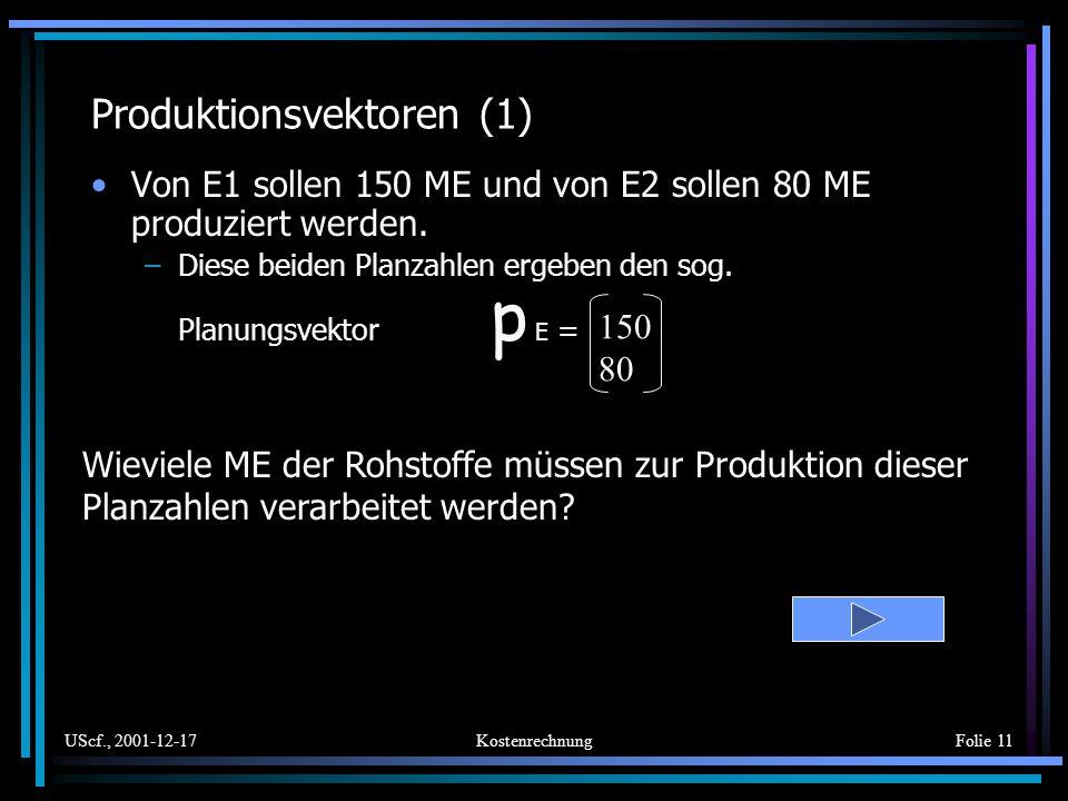 UScf., 2001-12-17KostenrechnungFolie 11 Produktionsvektoren (1) Von E1 sollen 150 ME und von E2 sollen 80 ME produziert werden. –Diese beiden Planzahl