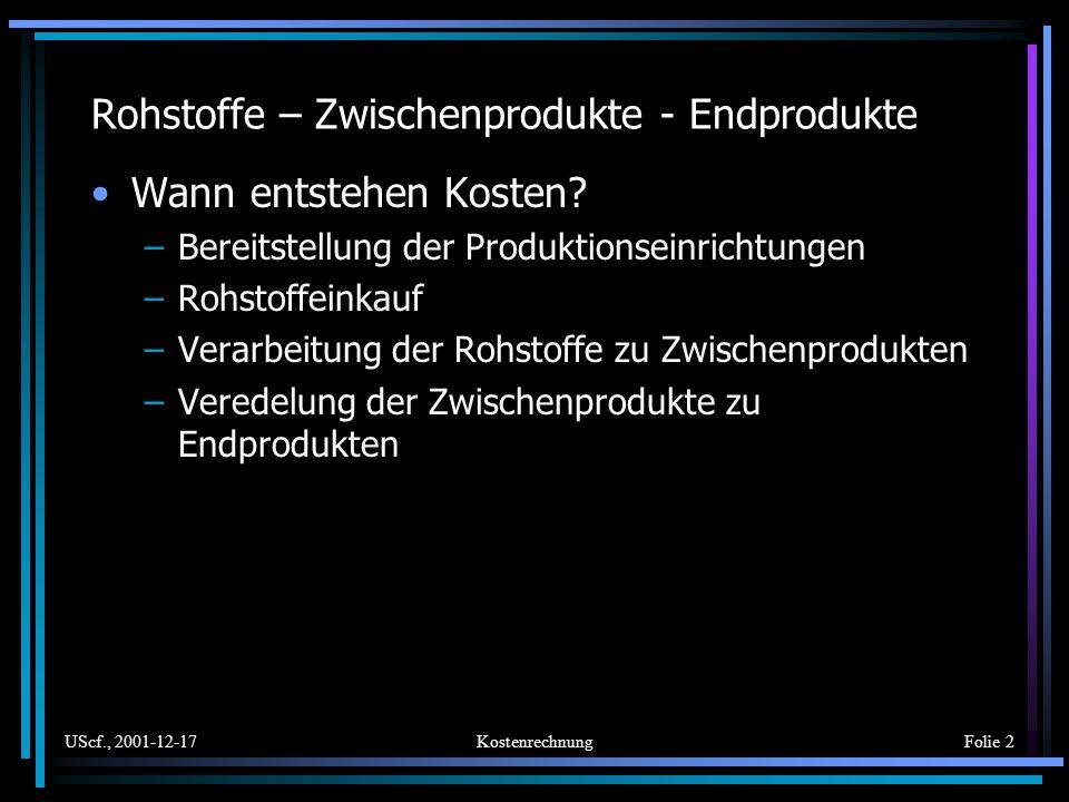 UScf., 2001-12-17KostenrechnungFolie 2 Rohstoffe – Zwischenprodukte - Endprodukte Wann entstehen Kosten? –Bereitstellung der Produktionseinrichtungen