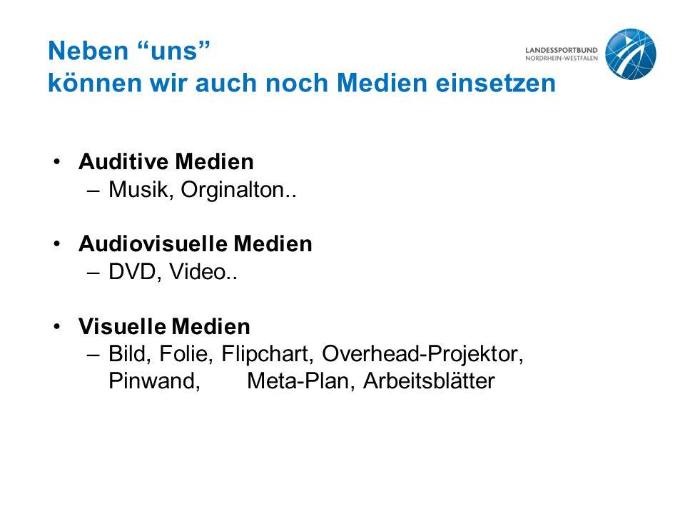 """Neben """"uns"""" können wir auch noch Medien einsetzen Auditive Medien –Musik, Orginalton.. Audiovisuelle Medien –DVD, Video.. Visuelle Medien –Bild, Folie"""