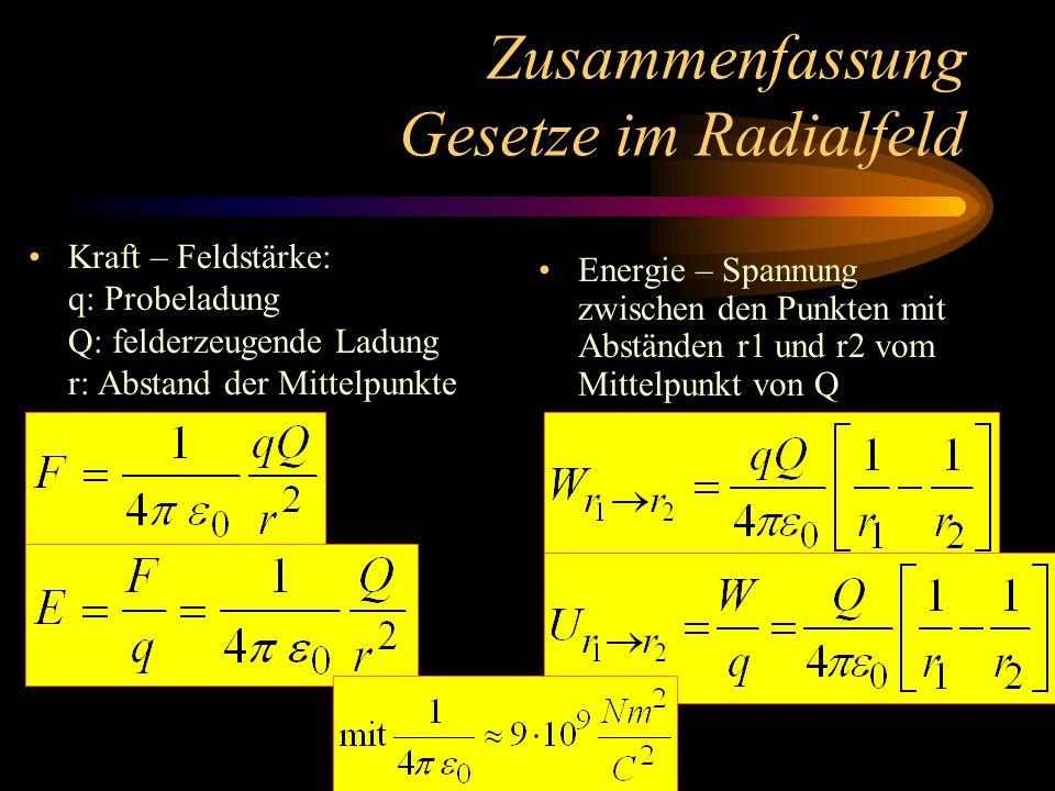 Energie im Coulombfeld Gesucht ist die Energie, die q gewinnt, wenn es von r1 nach r2 bewegt wird! Bei konst. Kraft gilt: Allgemein gilt: Somit im Cou