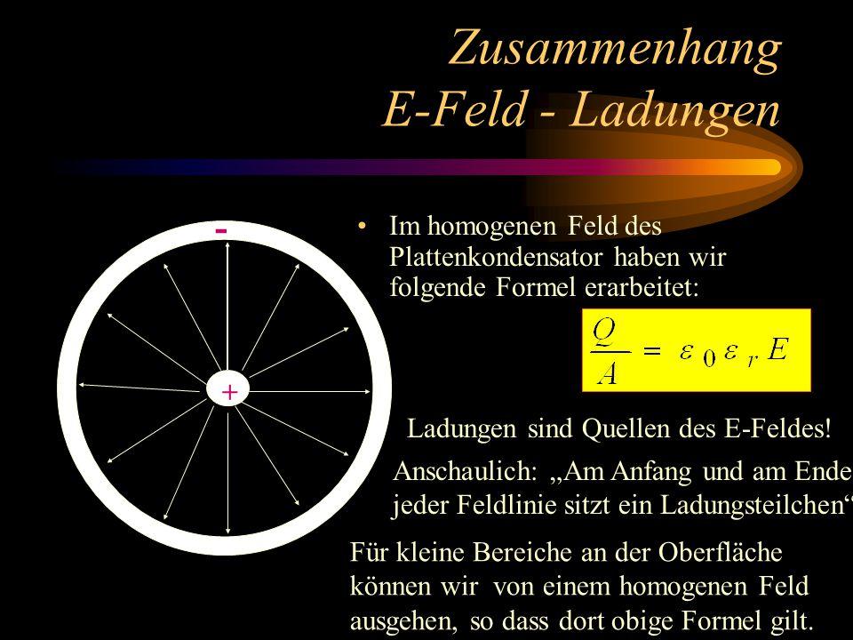Zusammenhang E-Feld - Ladungen Im homogenen Feld des Plattenkondensator haben wir folgende Formel erarbeitet: + - Ladungen sind Quellen des E-Feldes.
