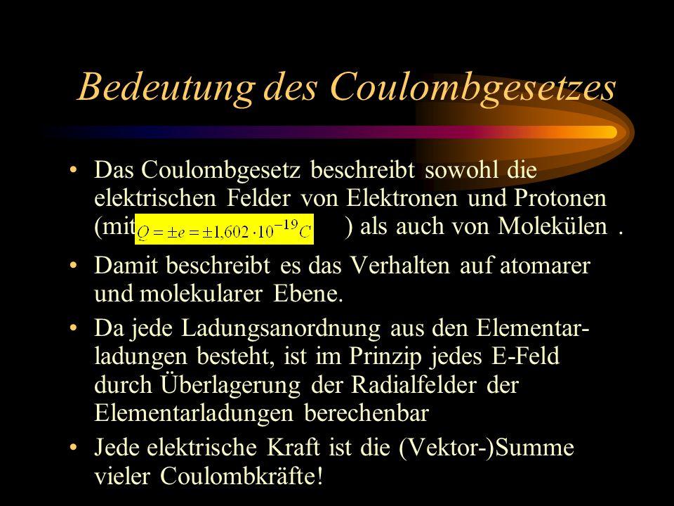 Bedeutung des Coulombgesetzes Damit beschreibt es das Verhalten auf atomarer und molekularer Ebene.