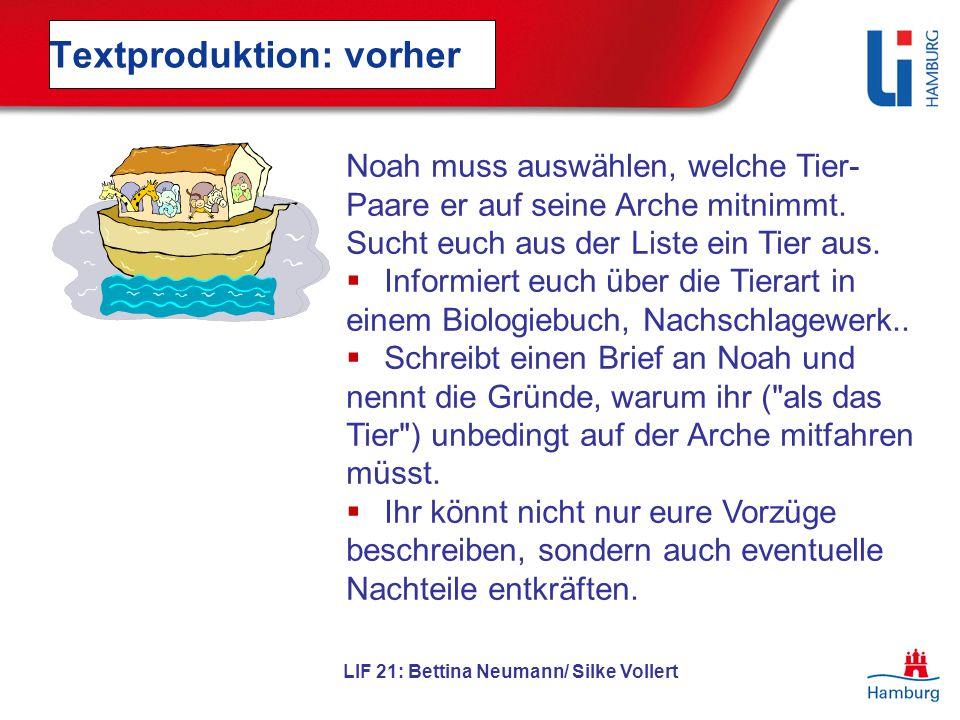 LIF 21: Bettina Neumann/ Silke Vollert Textproduktion: vorher Noah muss auswählen, welche Tier- Paare er auf seine Arche mitnimmt. Sucht euch aus der
