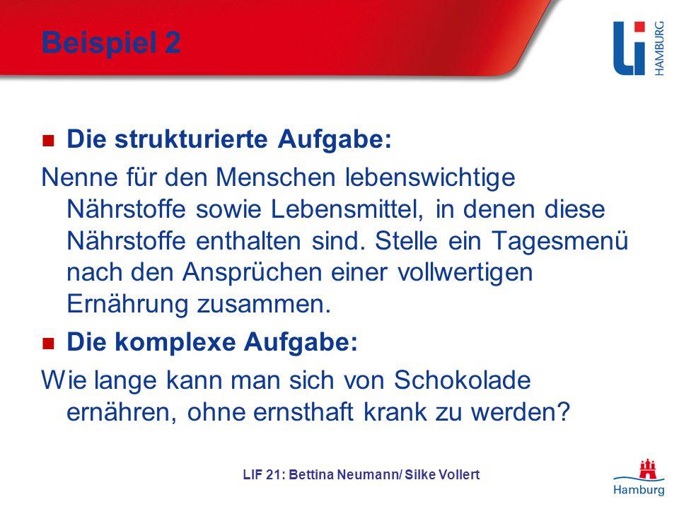 LIF 21: Bettina Neumann/ Silke Vollert Beispiel 2 Die strukturierte Aufgabe: Nenne für den Menschen lebenswichtige Nährstoffe sowie Lebensmittel, in d