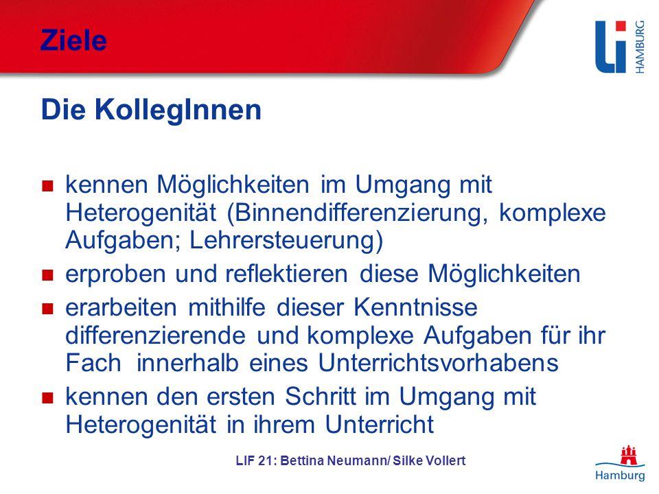 LIF 21: Bettina Neumann/ Silke Vollert Ziele Die KollegInnen kennen Möglichkeiten im Umgang mit Heterogenität (Binnendifferenzierung, komplexe Aufgabe
