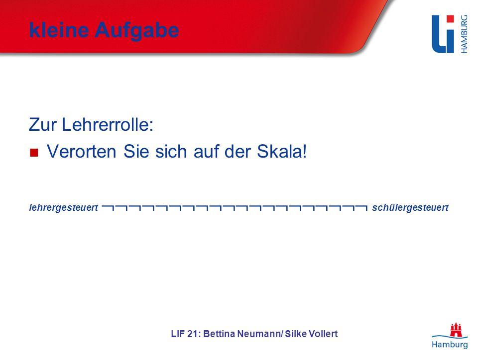 LIF 21: Bettina Neumann/ Silke Vollert kleine Aufgabe Zur Lehrerrolle: Verorten Sie sich auf der Skala! lehrergesteuert  schülerge