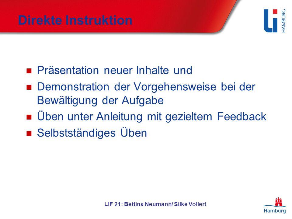 Direkte Instruktion Direkte Instruktion Präsentation neuer Inhalte und Demonstration der Vorgehensweise bei der Bewältigung der Aufgabe Üben unter Anl
