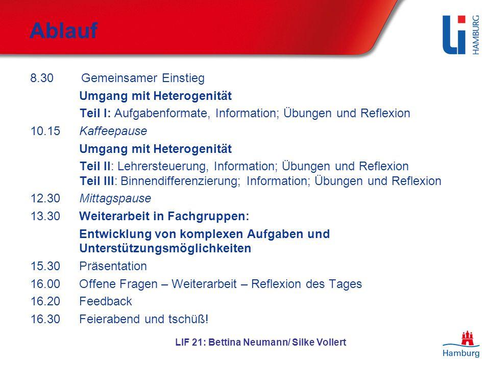 LIF 21: Bettina Neumann/ Silke Vollert Ablauf 8.30 Gemeinsamer Einstieg Umgang mit Heterogenität Teil I: Aufgabenformate, Information; Übungen und Ref