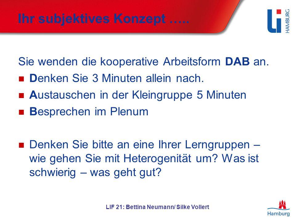 LIF 21: Bettina Neumann/ Silke Vollert Ihr subjektives Konzept ….. Sie wenden die kooperative Arbeitsform DAB an. Denken Sie 3 Minuten allein nach. Au