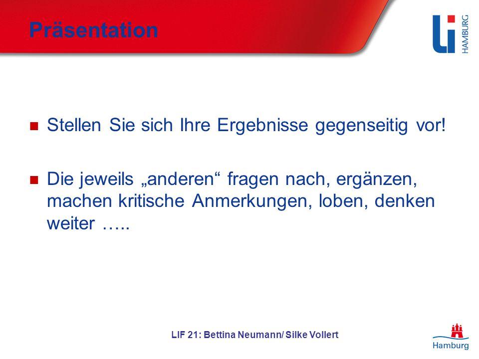 """LIF 21: Bettina Neumann/ Silke Vollert Präsentation Stellen Sie sich Ihre Ergebnisse gegenseitig vor! Die jeweils """"anderen"""" fragen nach, ergänzen, mac"""