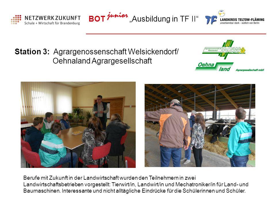 """BOT junior """"Ausbildung in TF II"""" Station 3: Agrargenossenschaft Welsickendorf/ Oehnaland Agrargesellschaft Berufe mit Zukunft in der Landwirtschaft wu"""