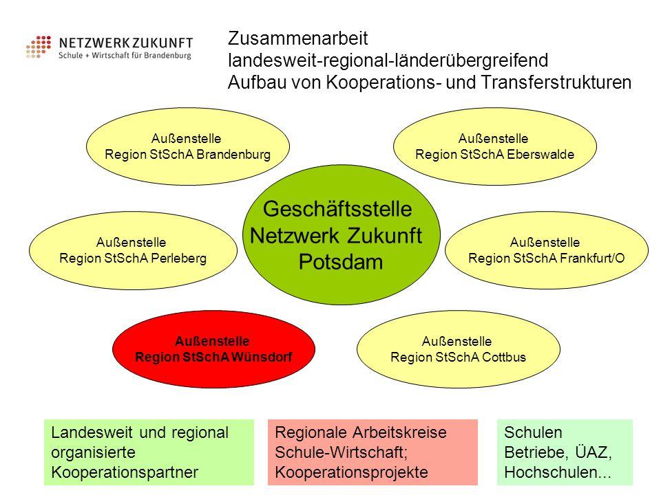 Zusammenarbeit landesweit-regional-länderübergreifend Aufbau von Kooperations- und Transferstrukturen Geschäftsstelle Netzwerk Zukunft Potsdam Außenst