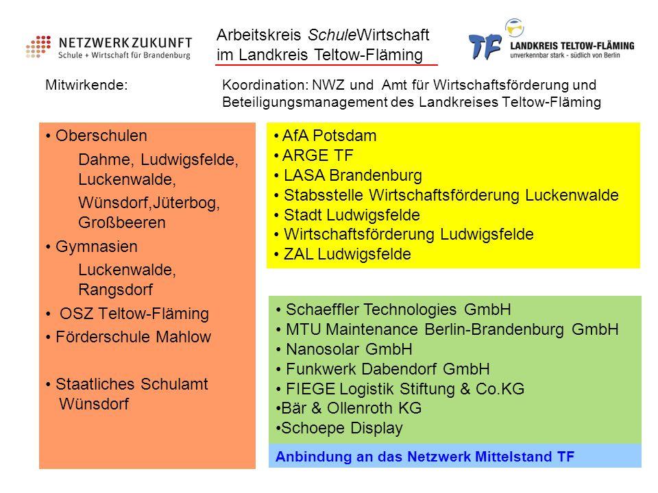 Mitwirkende: Koordination: NWZ und Amt für Wirtschaftsförderung und Beteiligungsmanagement des Landkreises Teltow-Fläming Oberschulen Dahme, Ludwigsfe