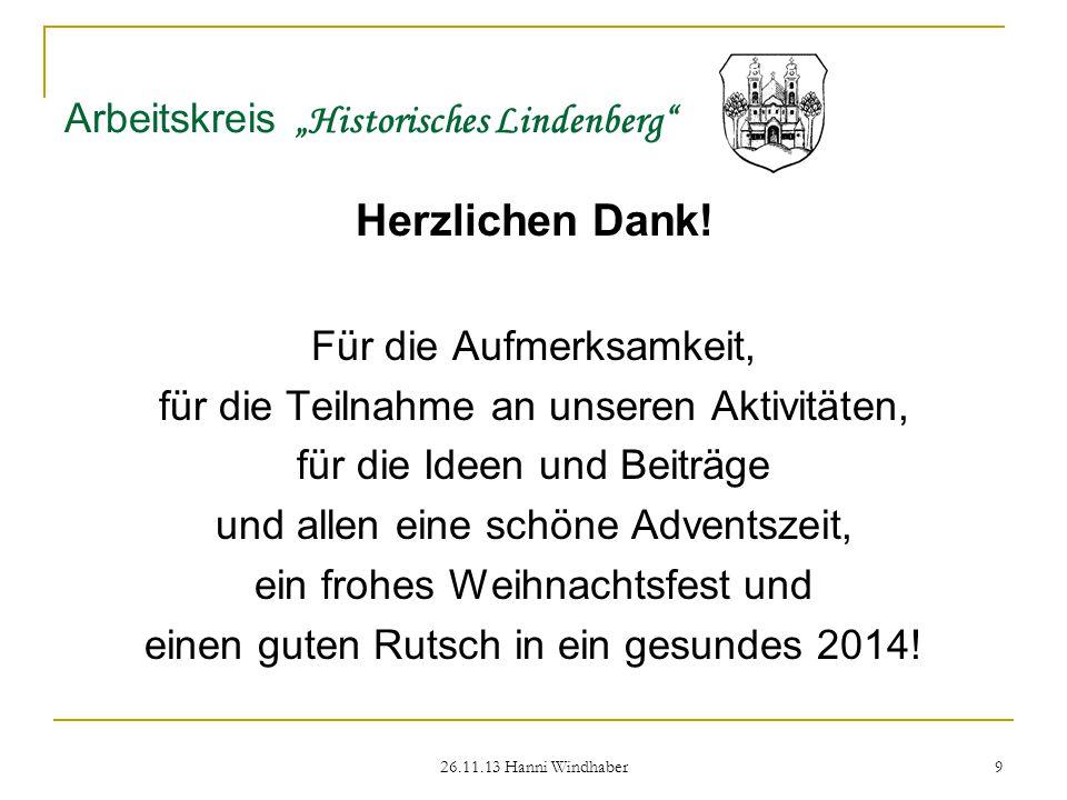 """26.11.13 Hanni Windhaber 9 Arbeitskreis """"Historisches Lindenberg Herzlichen Dank."""