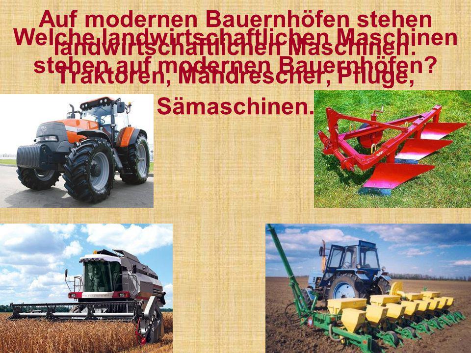 Auf modernen Bauernhöfen stehen landwirtschaftlichen Maschinen: Traktoren, Mähdrescher, Pflüge, Sämaschinen. Welche landwirtschaftlichen Maschinen ste
