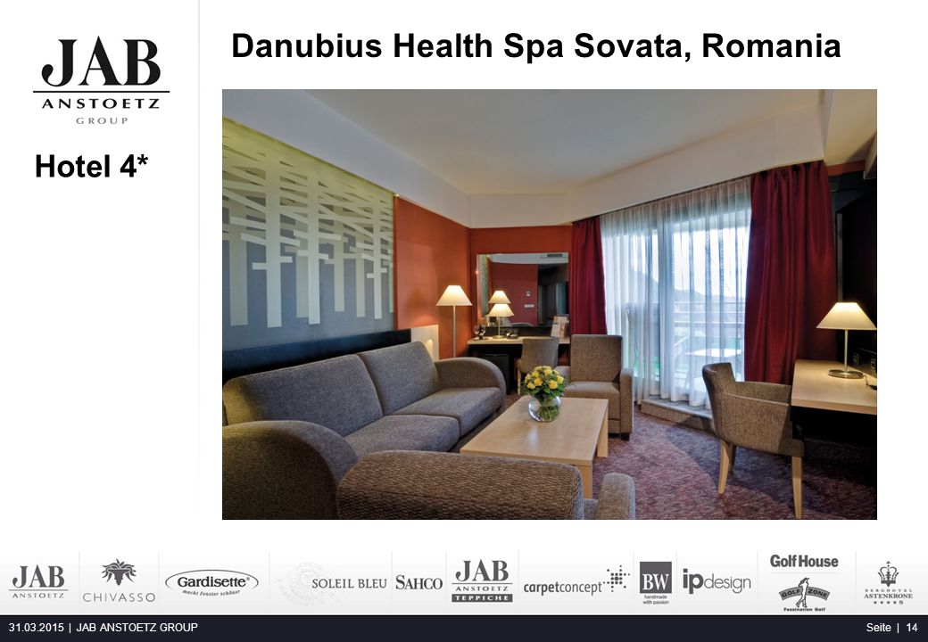 Danubius Health Spa Sovata, Romania 31.03.2015 | JAB ANSTOETZ GROUP Seite | 14 Hotel 4*