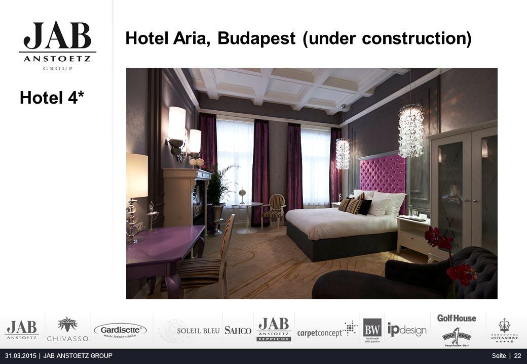 Hotel Aria, Budapest (under construction) 31.03.2015 | JAB ANSTOETZ GROUP Seite | 22 Alta Moda Fashion Hotel, Budapest Hotel 4*
