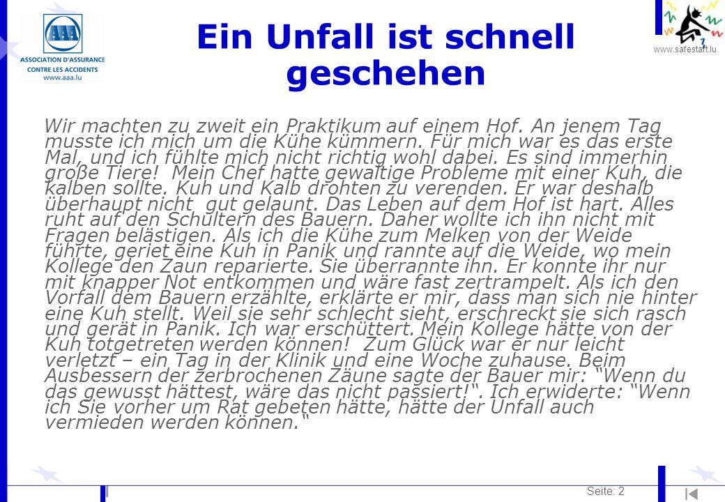 www.safestart.lu Seite: 13 Tiere l Hoftiere (Rinder usw.) gehören zu den häufigsten Unfallursachen in der Landwirtschaft.