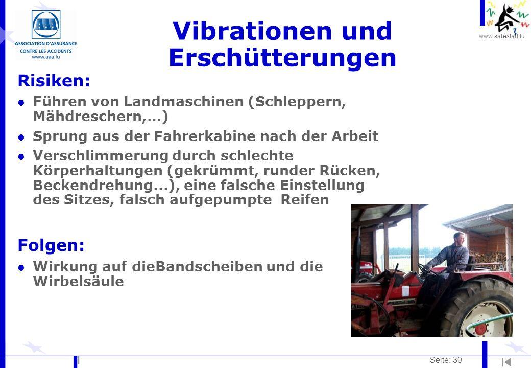 www.safestart.lu Seite: 30 Vibrationen und Erschütterungen Risiken: l Führen von Landmaschinen (Schleppern, Mähdreschern,…) l Sprung aus der Fahrerkab