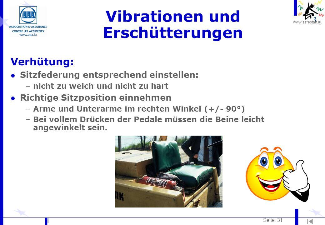 www.safestart.lu Seite: 31 Vibrationen und Erschütterungen Verhütung: l Sitzfederung entsprechend einstellen: –nicht zu weich und nicht zu hart l Rich