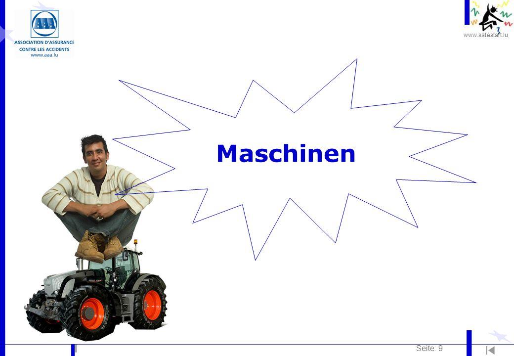 www.safestart.lu Seite: 30 Vibrationen und Erschütterungen Risiken: l Führen von Landmaschinen (Schleppern, Mähdreschern,…) l Sprung aus der Fahrerkabine nach der Arbeit l Verschlimmerung durch schlechte Körperhaltungen (gekrümmt, runder Rücken, Beckendrehung...), eine falsche Einstellung des Sitzes, falsch aufgepumpte Reifen Folgen: l Wirkung auf dieBandscheiben und die Wirbelsäule