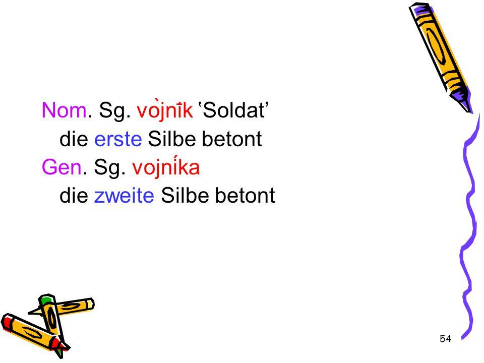 54 Nom. Sg. vòjni ̄ k 'Soldat' die erste Silbe betont Gen. Sg. vojnika die zweite Silbe betont