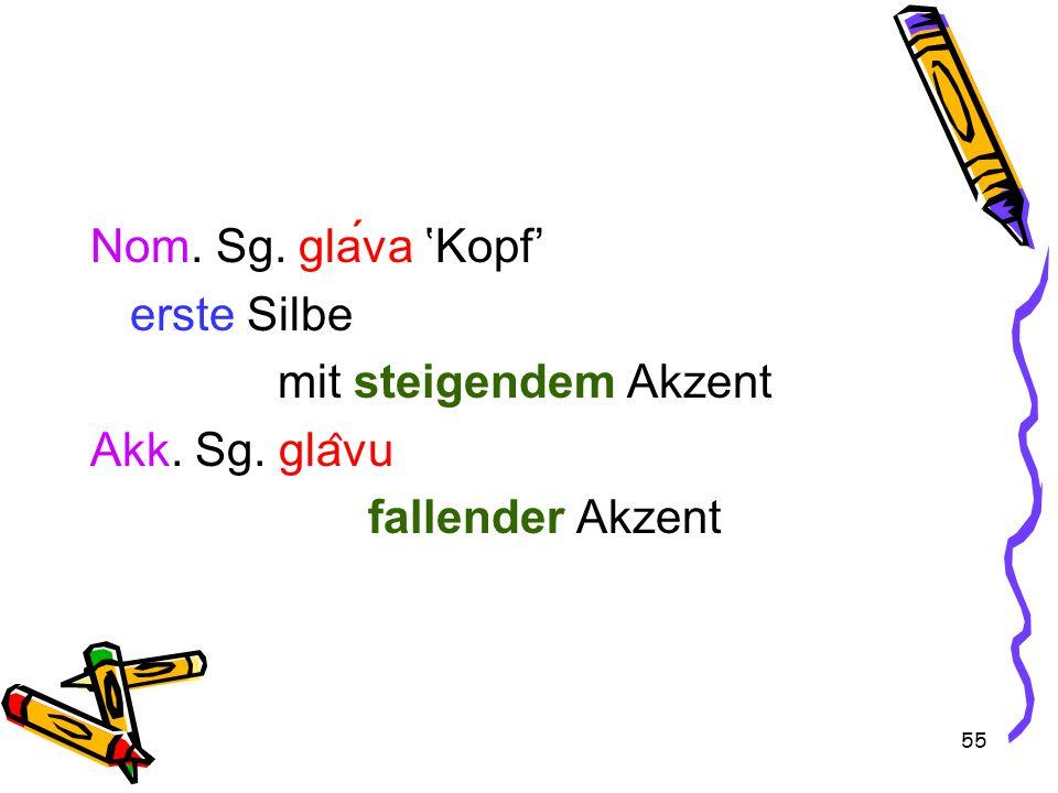 55 Nom. Sg. glava 'Kopf' erste Silbe mit steigendem Akzent Akk. Sg. gla ̂ vu fallender Akzent
