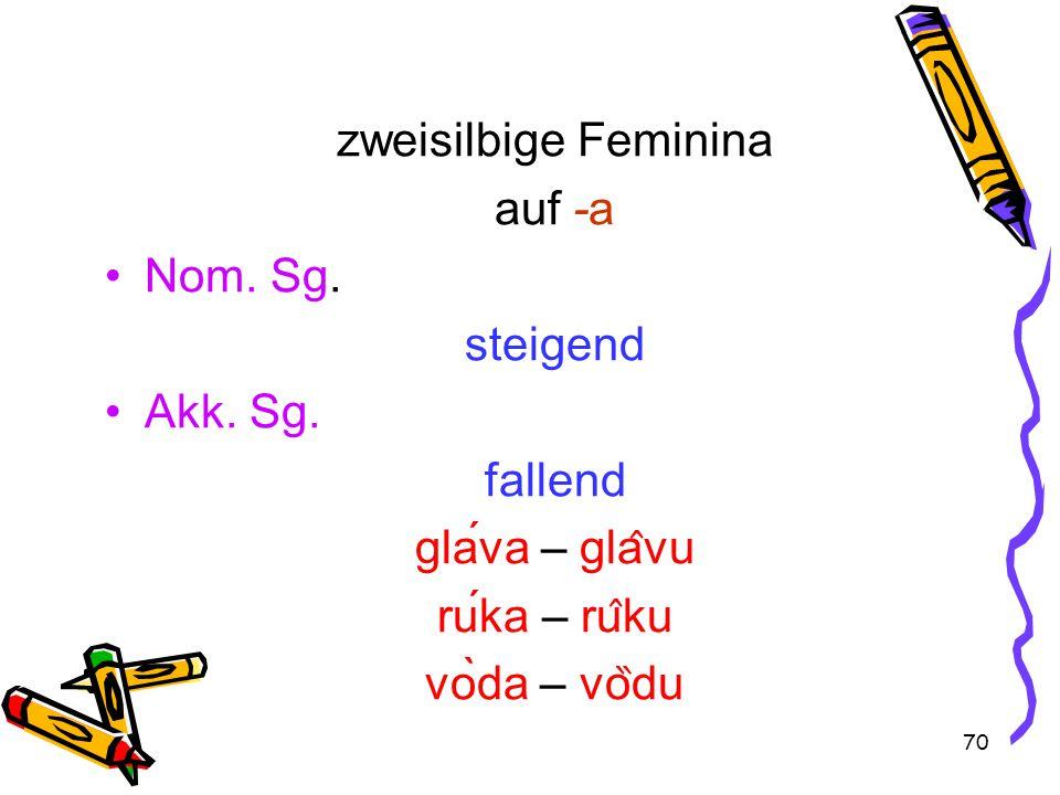 70 zweisilbige Feminina auf -a Nom. Sg. steigend Akk.