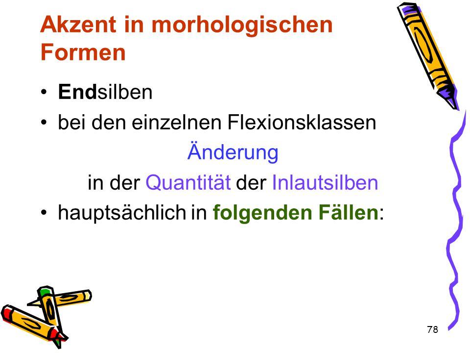 78 Endsilben bei den einzelnen Flexionsklassen Änderung in der Quantität der Inlautsilben hauptsächlich in folgenden Fällen: Akzent in morhologischen Formen