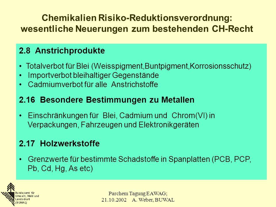 Parchem Tagung EAWAG; 21.10.2002 A. Weber, BUWAL 2.8 Anstrichprodukte Totalverbot für Blei (Weisspigment,Buntpigment,Korrosionsschutz) Importverbot bl