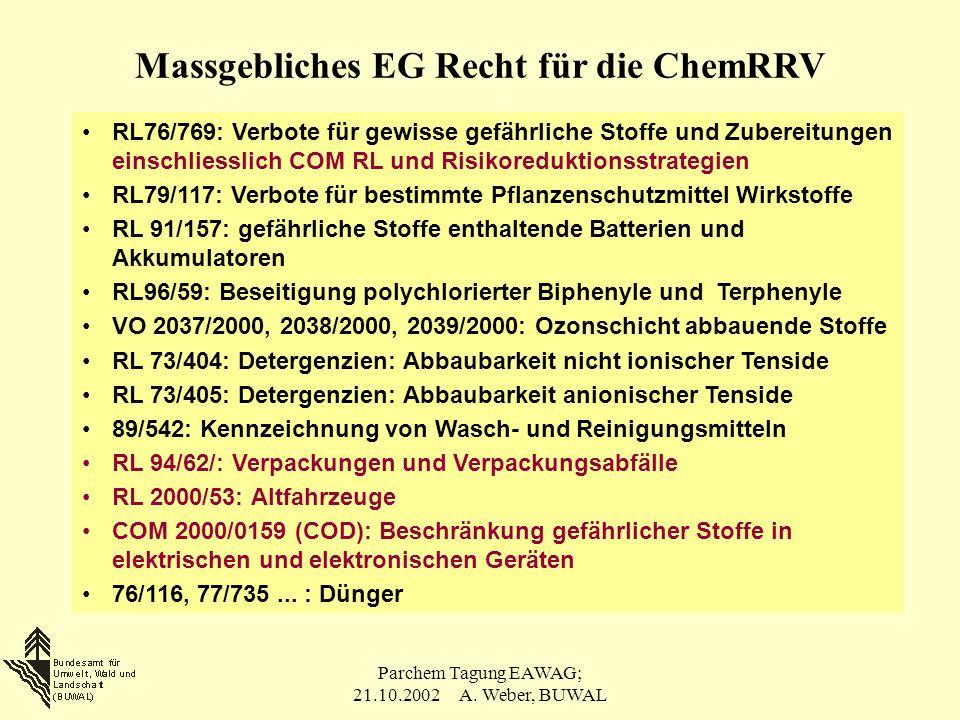 Parchem Tagung EAWAG; 21.10.2002 A. Weber, BUWAL Massgebliches EG Recht für die ChemRRV RL76/769: Verbote für gewisse gefährliche Stoffe und Zubereitu