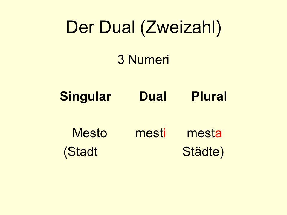 Der Dual (Zweizahl) 3 Numeri Singular Dual Plural Mesto mesti mesta (Stadt Städte)