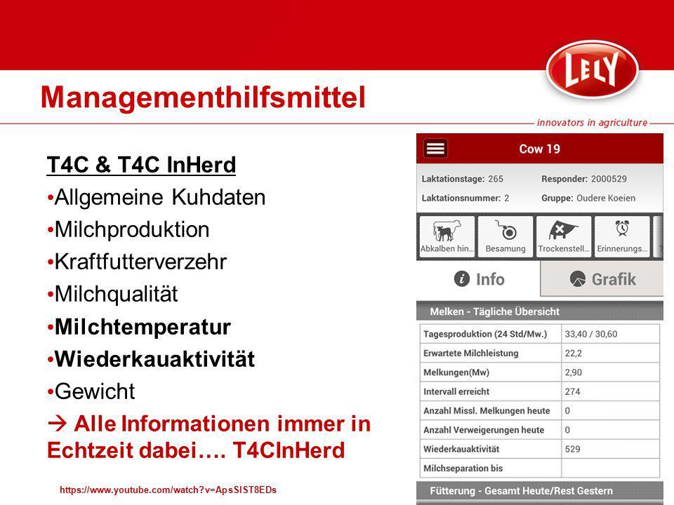 Managementhilfsmittel https://www.youtube.com/watch?v=ApsSlST8EDs T4C & T4C InHerd Allgemeine Kuhdaten Milchproduktion Kraftfutterverzehr Milchqualitä