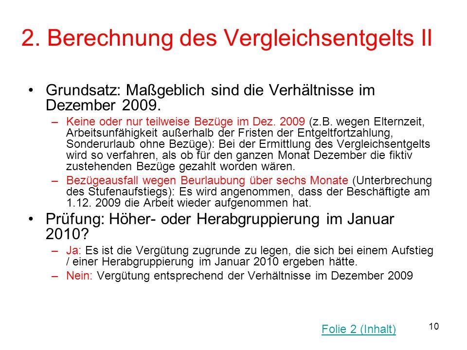 10 2. Berechnung des Vergleichsentgelts II Grundsatz: Maßgeblich sind die Verhältnisse im Dezember 2009. –Keine oder nur teilweise Bezüge im Dez. 2009