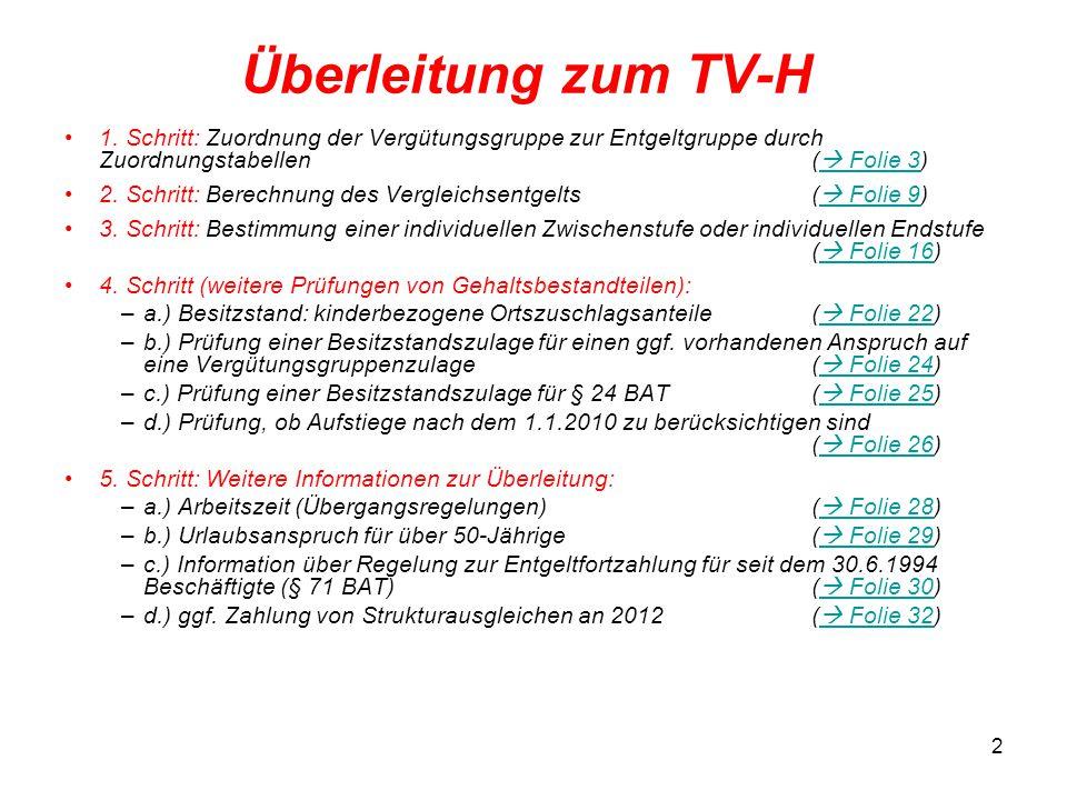 2 Überleitung zum TV-H 1. Schritt: Zuordnung der Vergütungsgruppe zur Entgeltgruppe durch Zuordnungstabellen (  Folie 3)  Folie 3 2. Schritt: Berech
