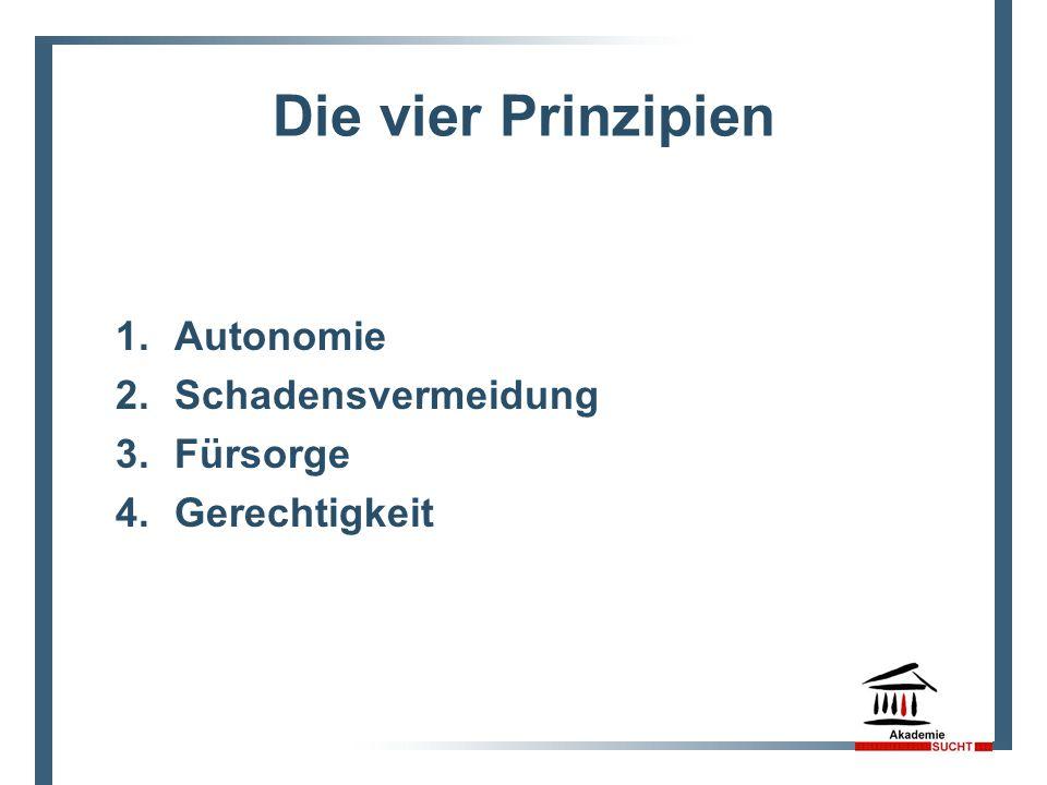 Die vier Prinzipien 1. Autonomie 2. Schadensvermeidung 3. Fürsorge 4. Gerechtigkeit 7