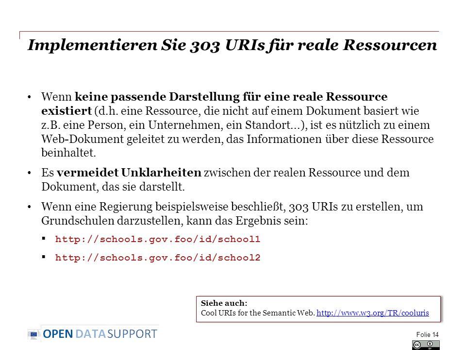 Implementieren Sie 303 URIs für reale Ressourcen Wenn keine passende Darstellung für eine reale Ressource existiert (d.h.
