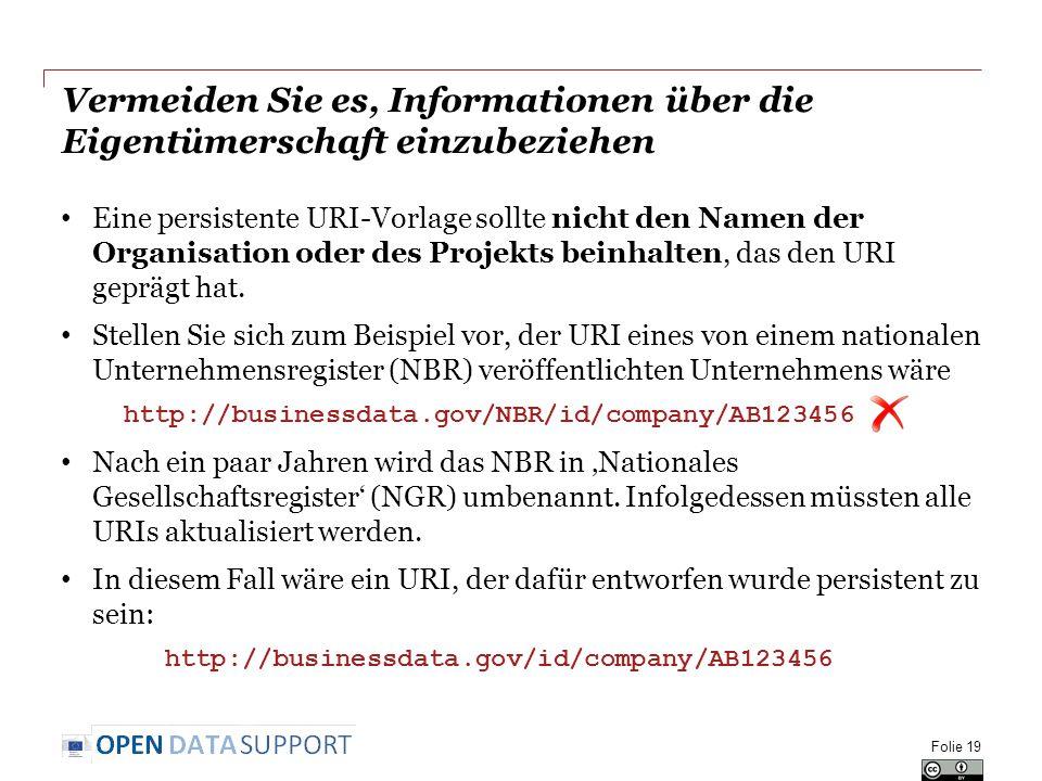 Vermeiden Sie es, Informationen über die Eigentümerschaft einzubeziehen Eine persistente URI-Vorlage sollte nicht den Namen der Organisation oder des Projekts beinhalten, das den URI geprägt hat.
