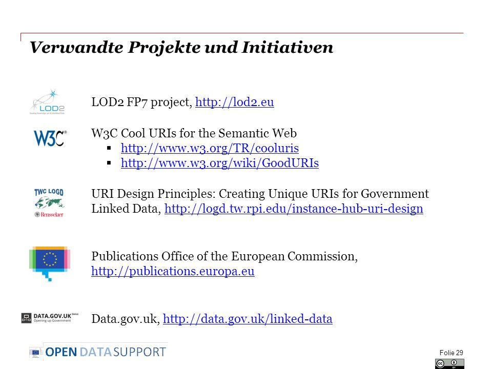 Verwandte Projekte und Initiativen LOD2 FP7 project, http://lod2.euhttp://lod2.eu W3C Cool URIs for the Semantic Web  http://www.w3.org/TR/cooluris http://www.w3.org/TR/cooluris  http://www.w3.org/wiki/GoodURIs http://www.w3.org/wiki/GoodURIs URI Design Principles: Creating Unique URIs for Government Linked Data, http://logd.tw.rpi.edu/instance-hub-uri-designhttp://logd.tw.rpi.edu/instance-hub-uri-design Publications Office of the European Commission, http://publications.europa.eu http://publications.europa.eu Data.gov.uk, http://data.gov.uk/linked-datahttp://data.gov.uk/linked-data Folie 29