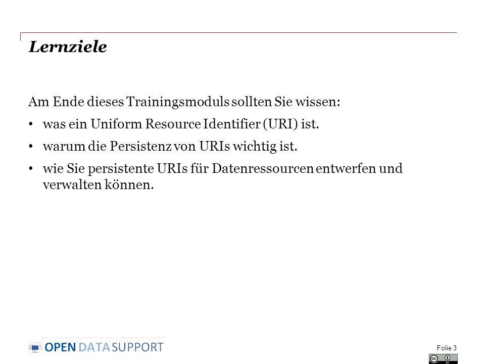 Lernziele Am Ende dieses Trainingsmoduls sollten Sie wissen: was ein Uniform Resource Identifier (URI) ist.