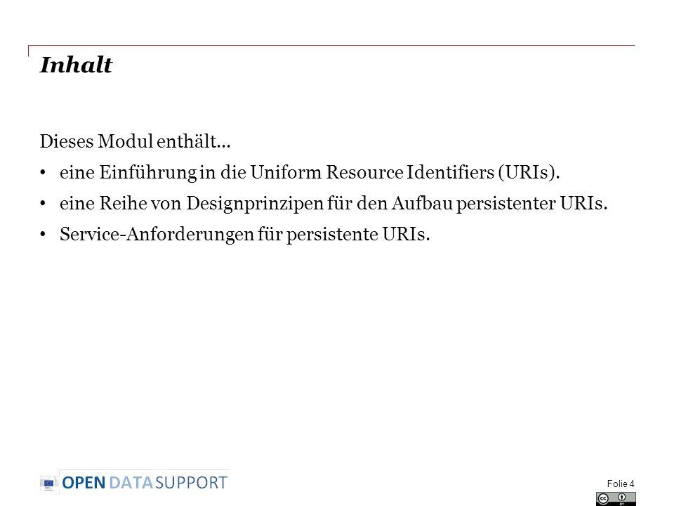 Inhalt Dieses Modul enthält... eine Einführung in die Uniform Resource Identifiers (URIs).