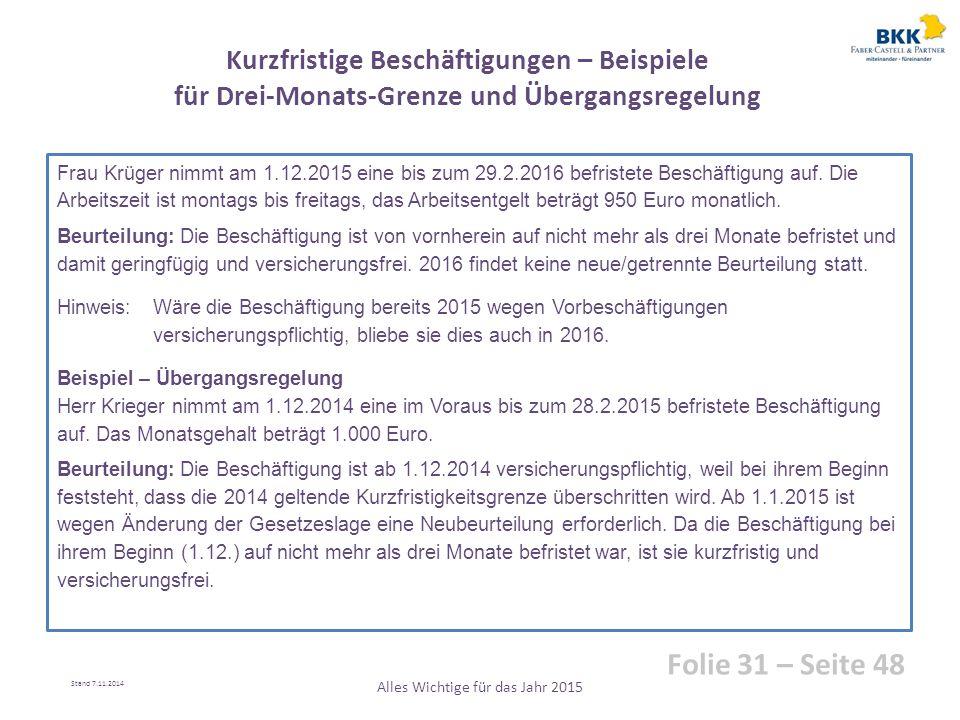Frau Krüger nimmt am 1.12.2015 eine bis zum 29.2.2016 befristete Beschäftigung auf. Die Arbeitszeit ist montags bis freitags, das Arbeitsentgelt beträ
