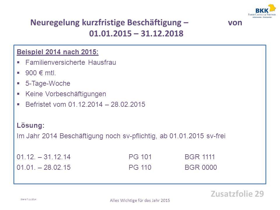 Beispiel 2014 nach 2015:  Familienversicherte Hausfrau  900 € mtl.  5-Tage-Woche  Keine Vorbeschäftigungen  Befristet vom 01.12.2014 – 28.02.2015