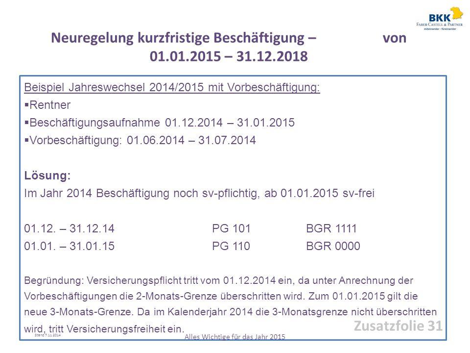 Beispiel Jahreswechsel 2014/2015 mit Vorbeschäftigung:  Rentner  Beschäftigungsaufnahme 01.12.2014 – 31.01.2015  Vorbeschäftigung: 01.06.2014 – 31.
