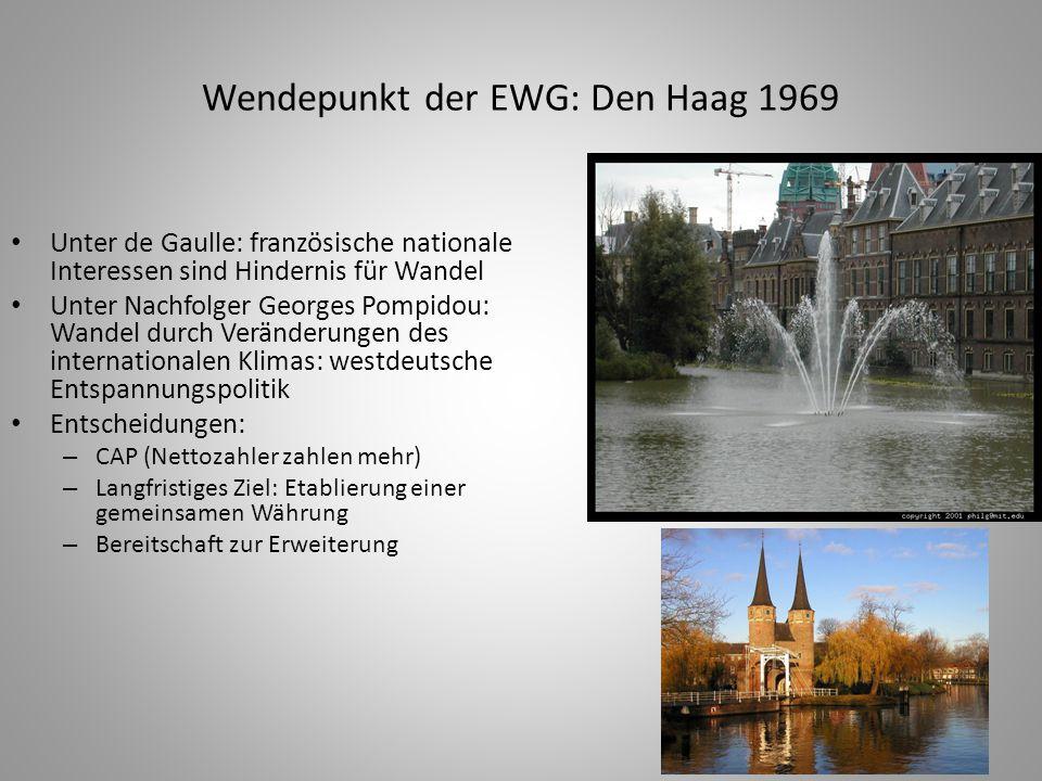 16 Wendepunkt der EWG: Den Haag 1969 Unter de Gaulle: französische nationale Interessen sind Hindernis für Wandel Unter Nachfolger Georges Pompidou: W