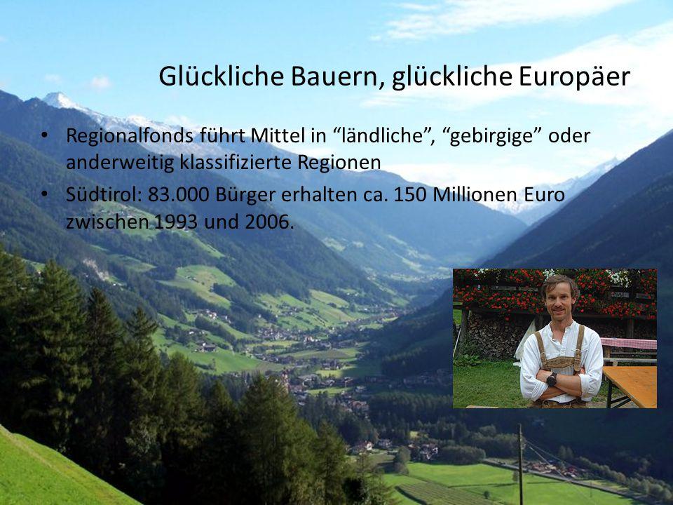 """27 Glückliche Bauern, glückliche Europäer Regionalfonds führt Mittel in """"ländliche"""", """"gebirgige"""" oder anderweitig klassifizierte Regionen Südtirol: 83"""